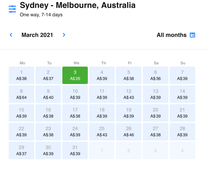 cheap flights between Sydney and Melbourne