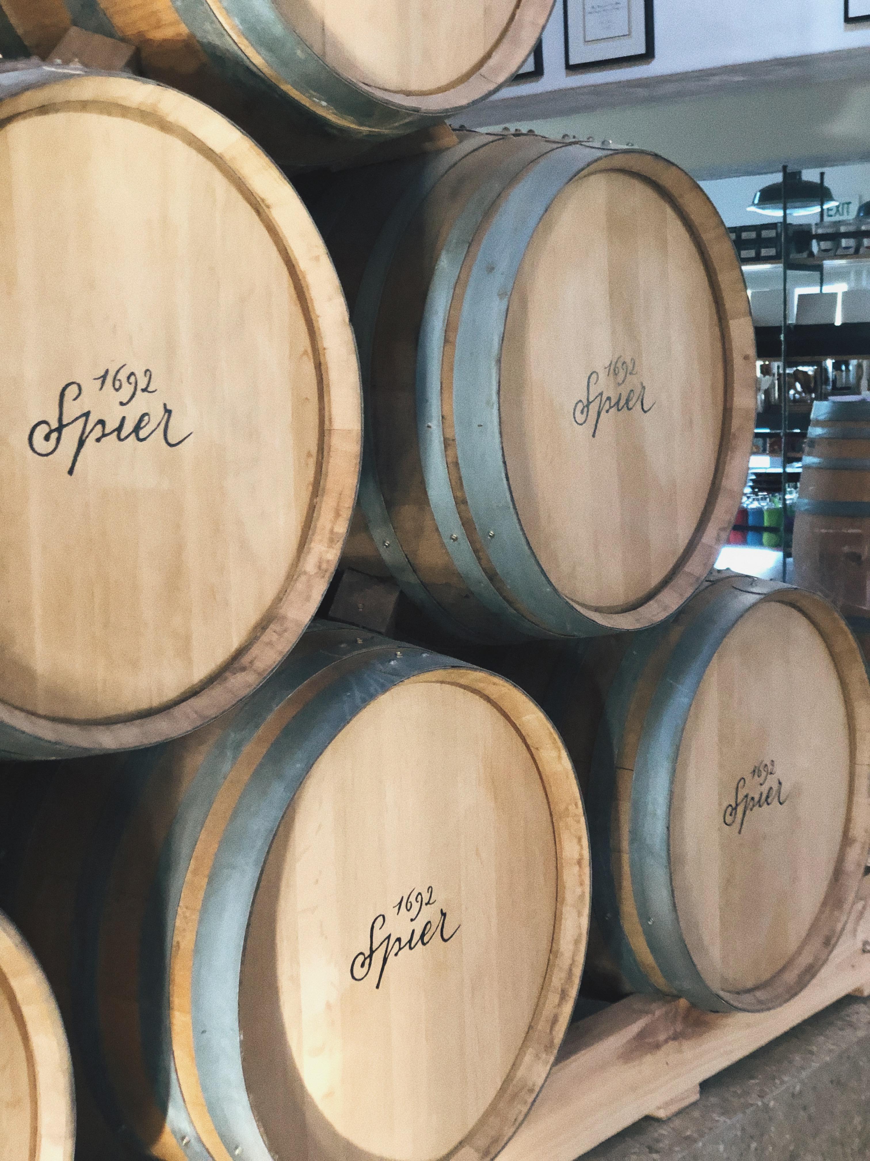 Spier wine estate wine barrels