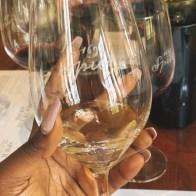 Dark skinned hand holding a glass of white wine at Spier wine estate
