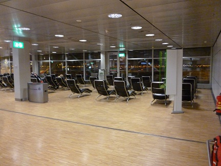Loungers at the upstairs viewing deck at Schipol Airport Amsterdam