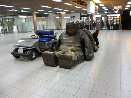 Modern art seats inside Schipol Airport