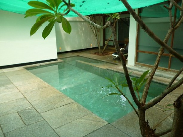 My own private courtyard and plunge pool at the Heritage Madurai