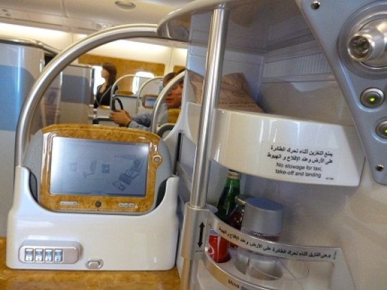 Emirates A380 drinks rack
