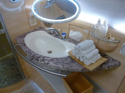 Emirates Handbasin, Towels And Smellies when you travel First Class on the Emirates A380