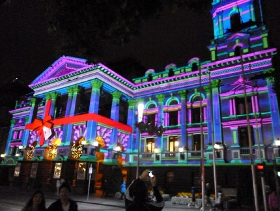 Melbourne Town Hall Lit Up For Christmas