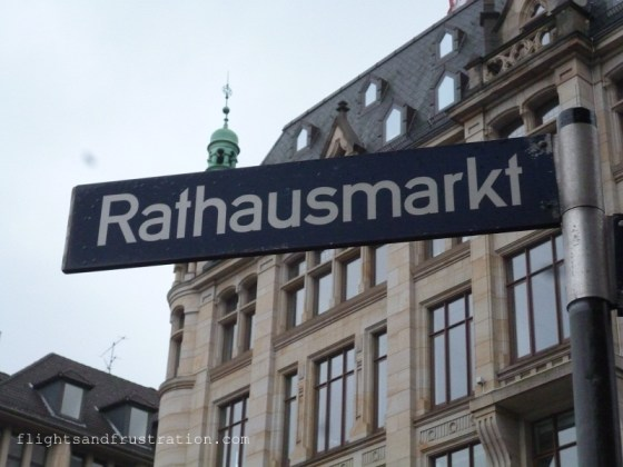 Street sign for the Hamburg Rathausmarkt
