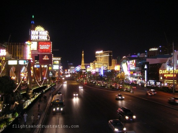 The Strip, Las Vegas with the Eiffel Tower of the Paris Hotel in the background