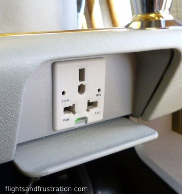 Plug socket on the Emirates B777