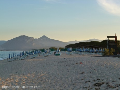 Sunbeds on the Orosei beach in Sardinia