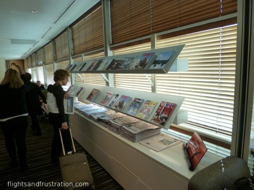 Selection of newspapers and magazines in the Qantas Club Brisbane Airport