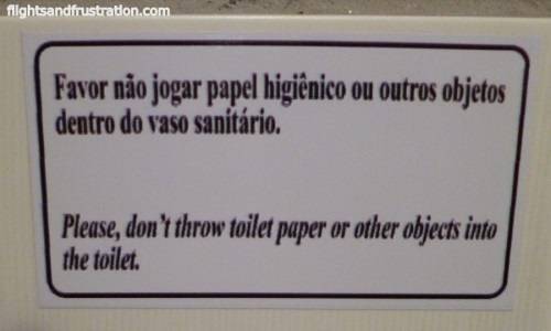 Don't throw toilet paper down the toilet