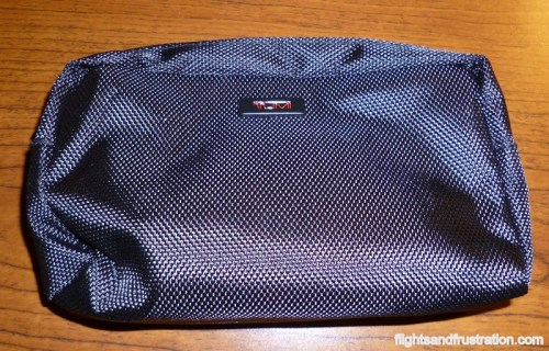 The complimentary Delta Mens Toiletry Bag