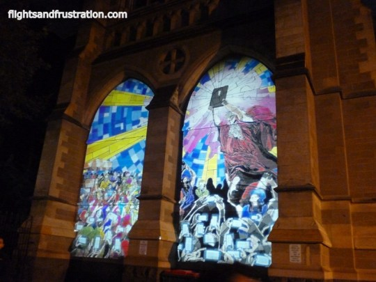 Art work on a church during the white night Melbourne festival