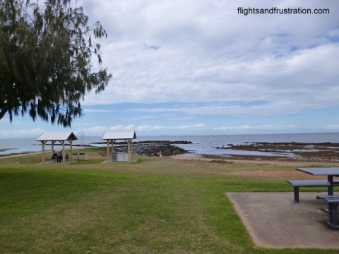 Barbecue and picnic stands along the North Queens Beach in Queensland