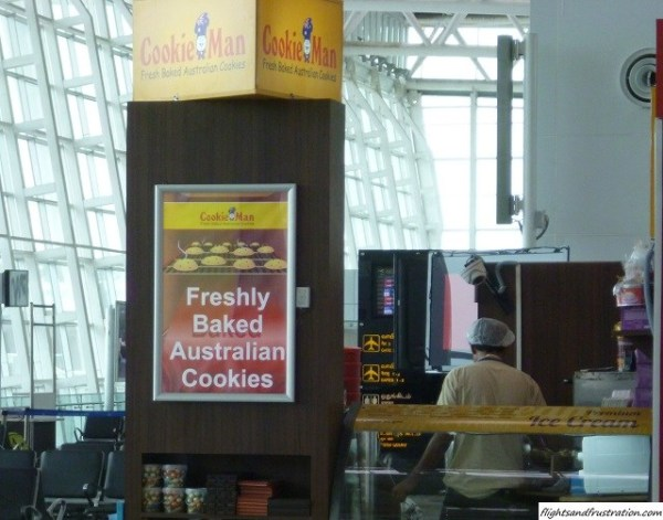 Australian cookies in India at the new Chennai Airport Domestic Terminal