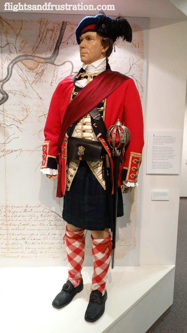 Life size model of a British soldier at the Bushy Run Battlefield Museum