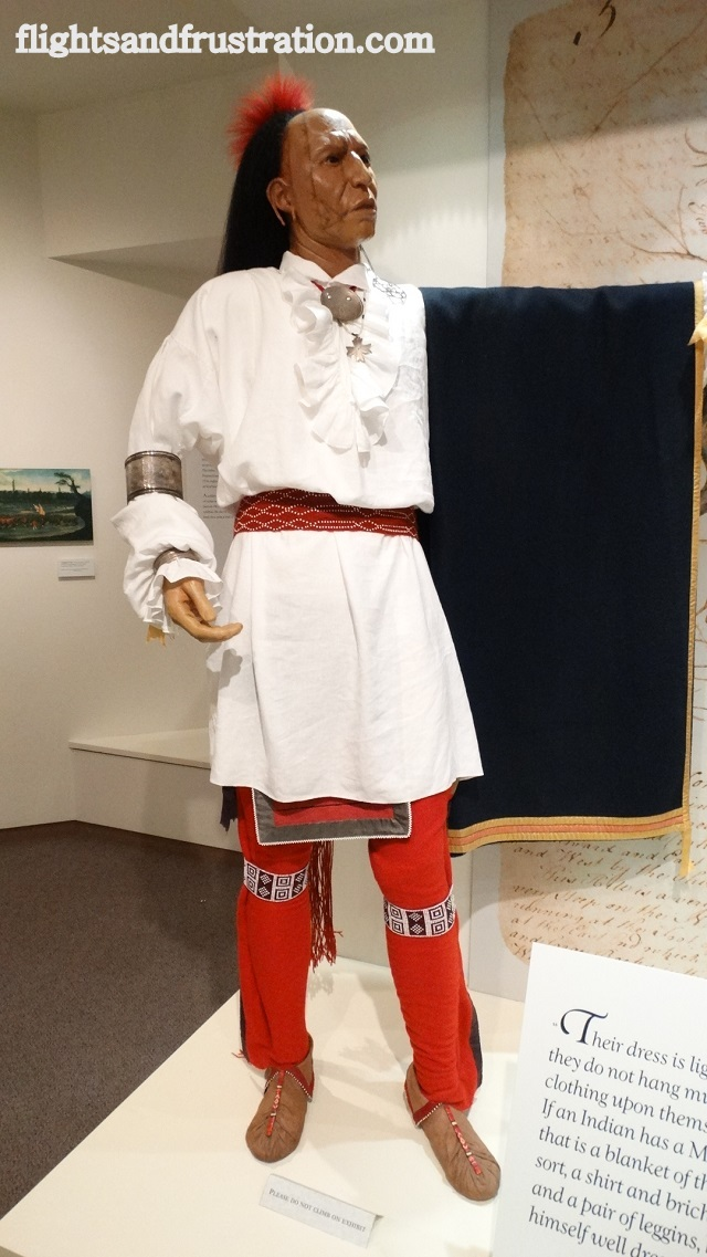 Life size model of a Native American at the Bushy Run Battlefield Museum