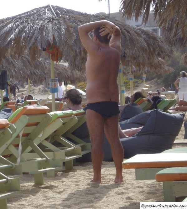 Is he a nudist or not on Paraga Beach Mykonos