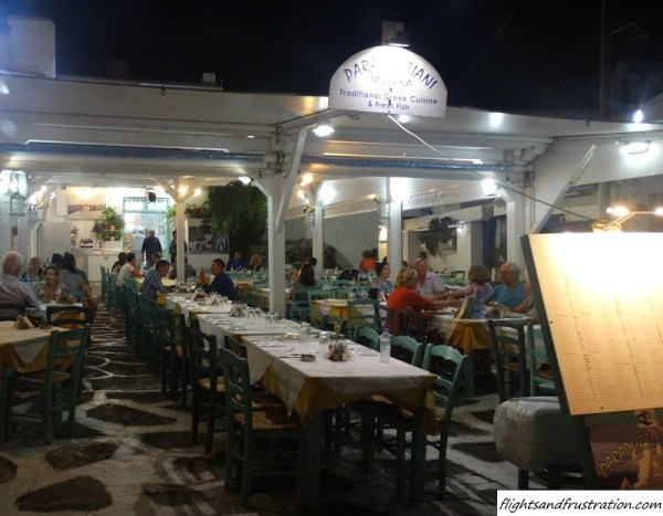 One of many places to dine outside in Mykonos Town