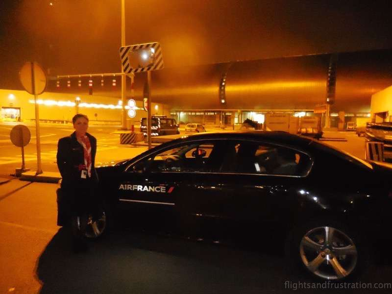 Georgia and the private car pick up to the plane from the terminal at CDG air france first class review