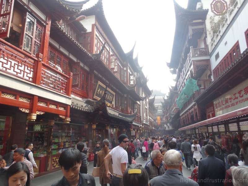 The red and brown style buildings are found throughout Yu Yuan Garden Shanghai