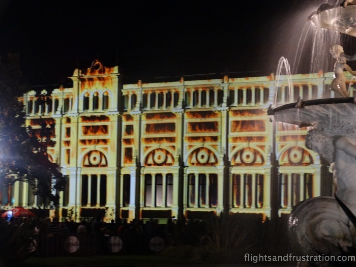 Royal Exhibition Building Melbourne appears to be on fire at white nights melbourne