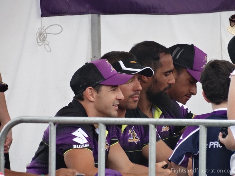 Billy Slater and some of the players meet the fans at the melbourne storm family fun day