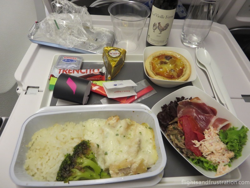 Chicken dinner in air france premium economy review