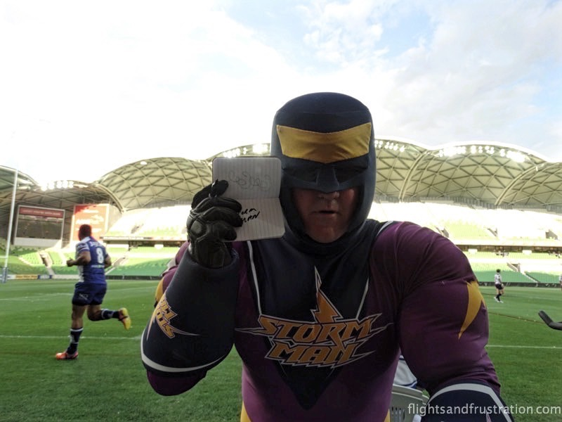 I got an autograph from Storm Man during the Melbourne Storm Family Fun Day