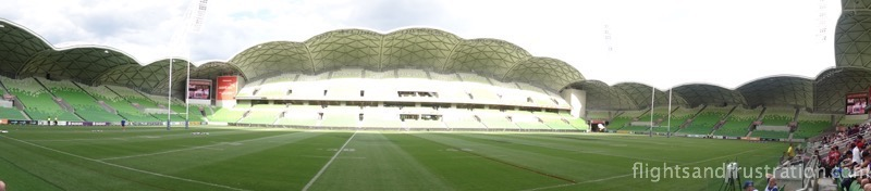 Panoramic view of AAMI Park Melbourne home of the Melbourne Storm, Melbourne Victory and Melbourne Rebels
