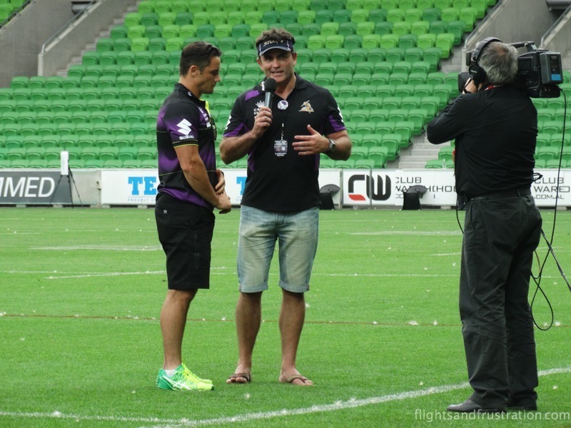 Pre-match chat with Cooper Cronk at the melbourne storm family fun day