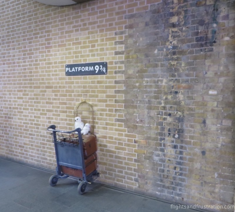 Platform 9 3/4 at the Harry Potter Station in London