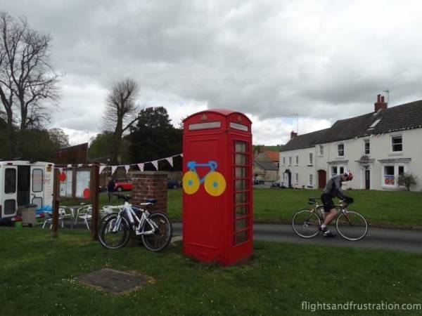 A traditional English phone box has got onto the tour de yorkshire map