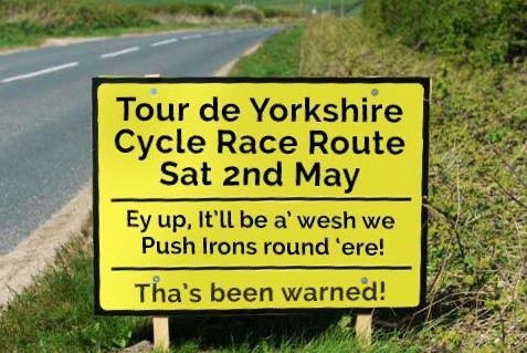 Tour De Yorkshire sign humour in local speak