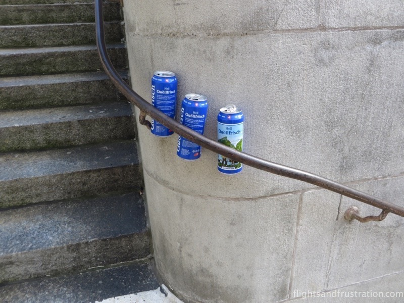 Cans left behind by beer drinkers in Switzerland - seen whilst visiting switzerland