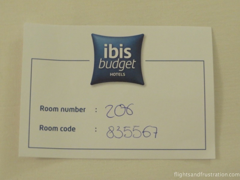 My key card or rather door code for the Ibis Budget hotel amsterdam airport