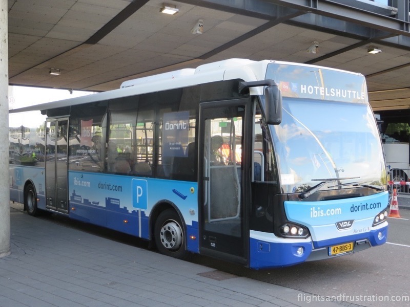 The Ibis Budget Hotel shuttle bus from Amsterdam Schiphol Airport