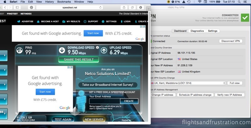 First HideMyAss! VPN speed test