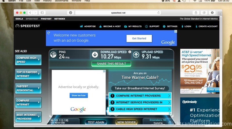 Speed test 1 without VPN