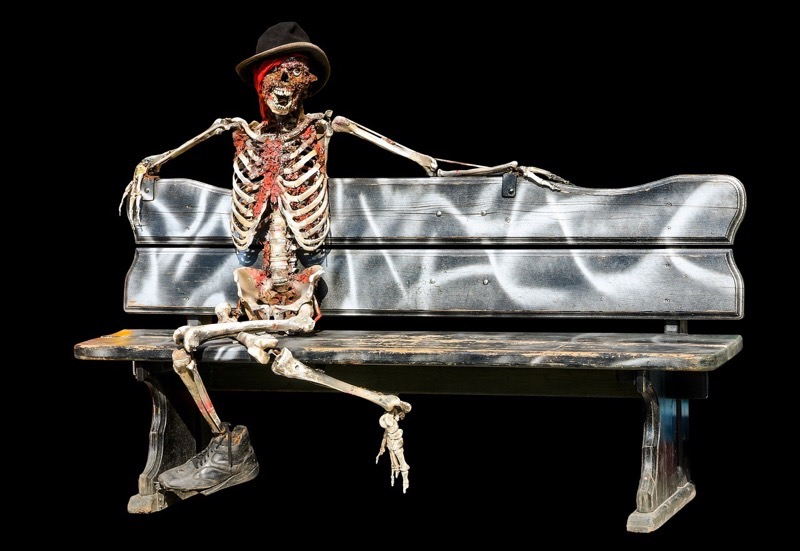 Skeleton on a bench but what is halloween all about