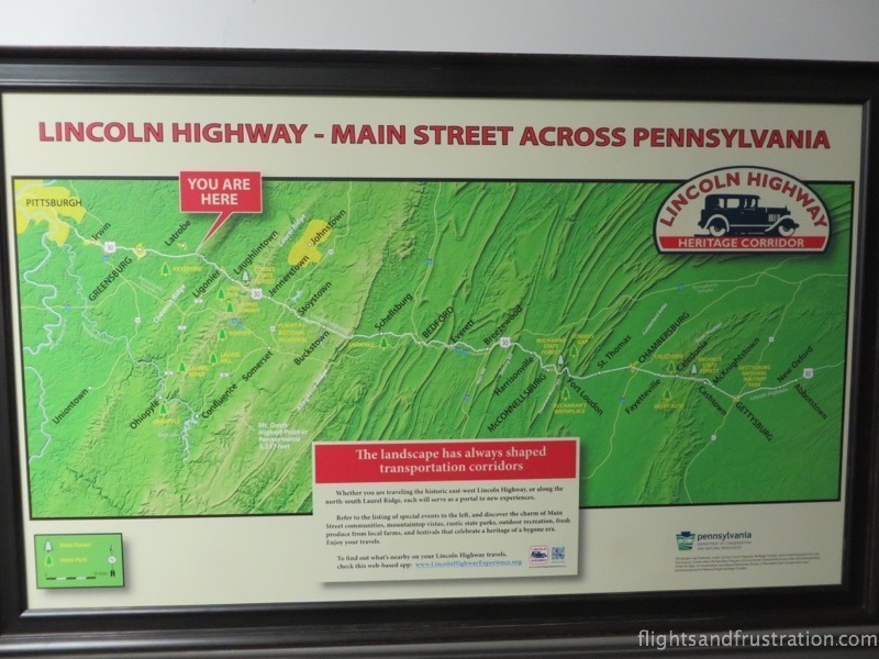 The Lincoln Highway Heritage Corridor in Pennsylvania road route