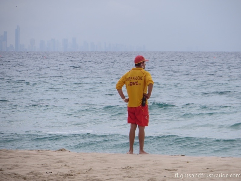 A Surf Rescue Lifeguard on Coolangatta beach