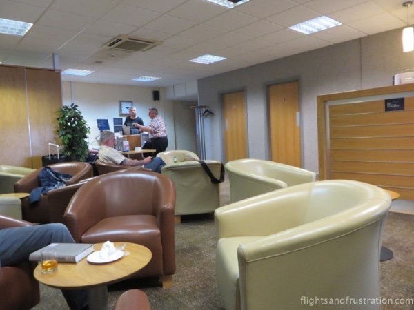 Tables and chairs at the Servisair Lounge at Humberside Airport