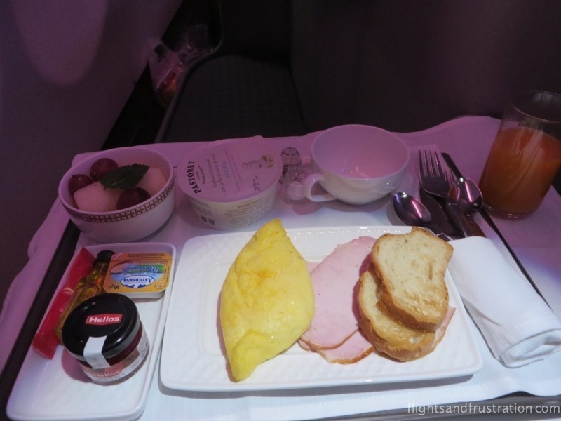 Breakfast on Iberia Business Class long haul