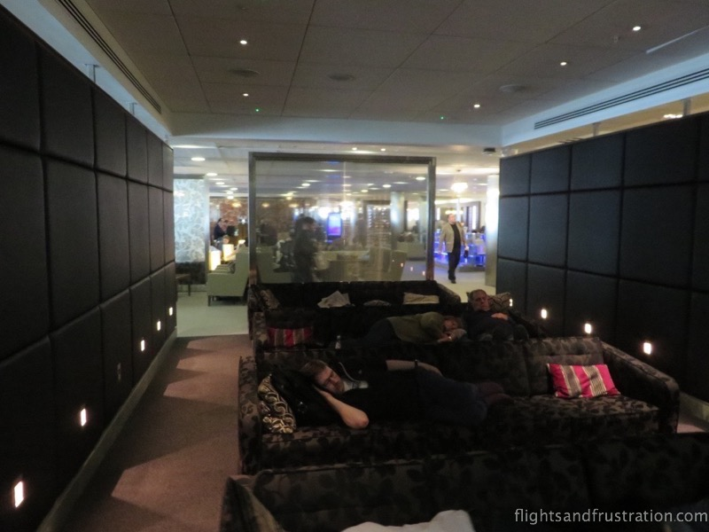 A chance to sleep in the British Airways business lounge