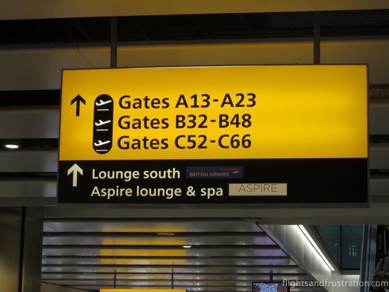 The Aspire Lounge is close to the BA lounge Heathrow T5