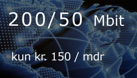 200 / 50 Mbit - kun kr. 150/mdr