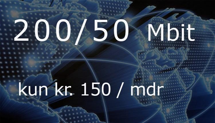 200 / 50 Mbit til kun kr. 150/mdr