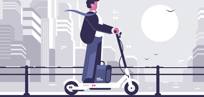 Businessman riding electric scooter modern cityscape