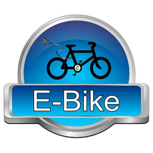 Glossy blue e-bike button on white background